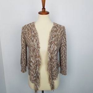 Ruby Rd Tan & Cream Open Front Fringe Shrug